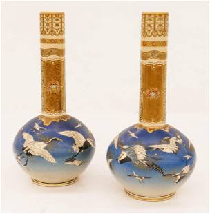 Pair of Taizan Japanese Satsuma Bottle Vases