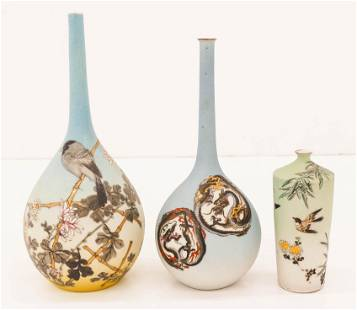 3pc Takeuchi Chubei Japanese Sharkskin Porcelain Vases