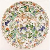 Chinese Kangxi Famille Verte Scalloped Deep Plate