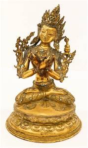 Tibetan 17th Cent. Gilt Bronze Vajradhara Seated Buddha