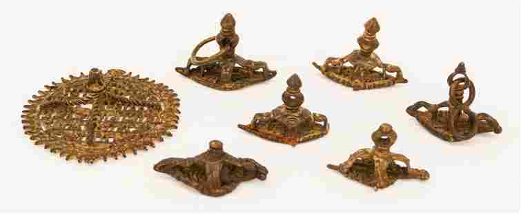 7pc Nepalese 18th Cent Bronze Body Seals 15 to 3