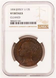 Island of Jersey 1858 113 Shilling NGC VF Cleaned