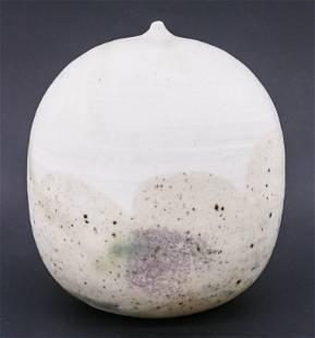 Toshiko Takeazu White Moonpot with Rattle