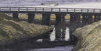 Richard Gilkey ''Skagit Bridge with Herring'' 1977 Oil