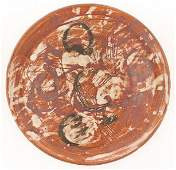Lee Kelly Sgraffito Abstract Plate Ceramic