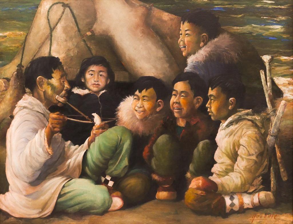 Harvey Goodale ''Scrimshawing Lesson'' Oil on Canvas