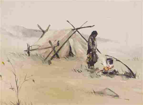 Harvey Goodale ''Eskimo Camp'' Oil on Canvas