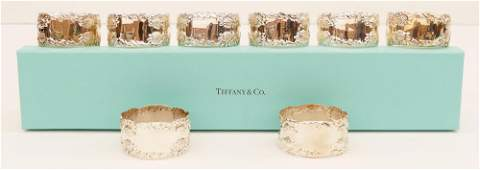 Set 8 Tiffany  Co Chrysanthemum Sterling Napkin