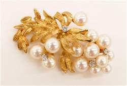Ladys 18k Pearl  Diamond Vine Brooch