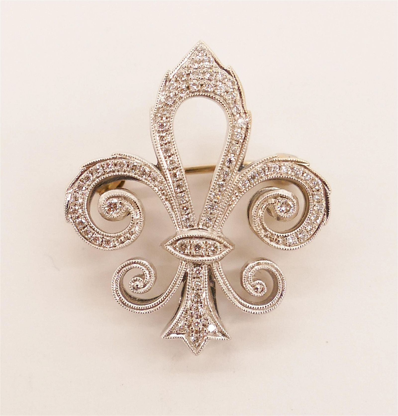 Lady's Edwardian Diamond Fleur-de-Lis 18k Brooch