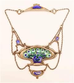 Omar Ramsden Art Nouveau Silver Peacock Necklace