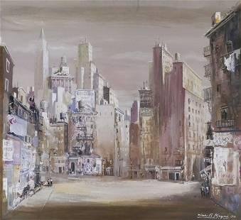 Riccardo Magni ''New York City'' 1941 Gouache