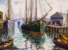 Elizabeth Warhanik Ballard Sailing Ships 1935 Oil