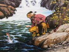 Bill Conant Trapper Fishing Acrylic on Canvas