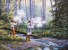 Bill Conant Shooting Trappers Acrylic on Canvas