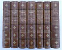 7 Volume Leather Bound Set Skeat Works of Chaucer