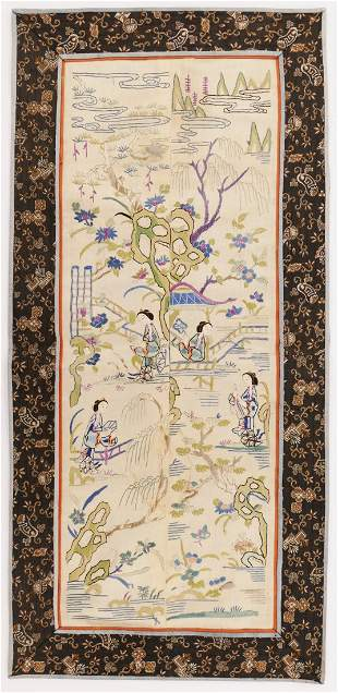 Pair Chinese Qing Silk Sleeve Panels
