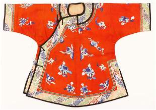 Old Chinese Silk Embroidered Child's Robe
