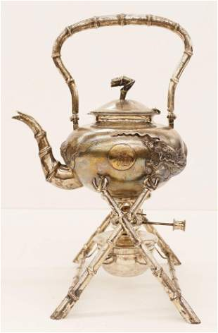 Chinese Export Silver Tea Kettle on Stand