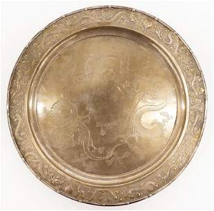 Chinese Export Silver Dragon Salver