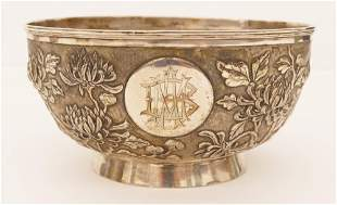 Chinese Export Silver Chrysanthemum Bowl