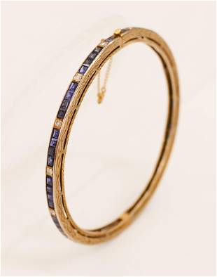 Lady's Art Deco Sapphire & Diamond Bangle Bracelet