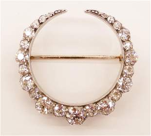 Edwardian 7.32ctw Diamond Crescent Brooch