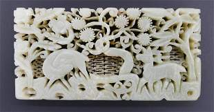 Fine Chinese Ming Jade Deer Plaque