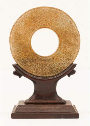 Chinese Han Dynasty Jade Bi Disc on Stand