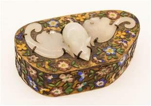 Chinese White Jade Bat Enameled Box