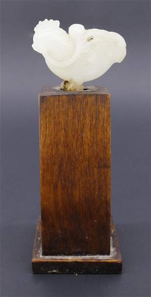 Chinese Qing White Jade Rooster on Stand