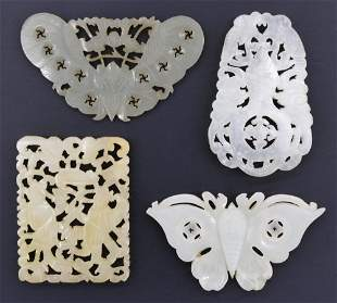 4pc Chinese Qing Jade and Stone Pendants