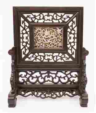 Chinese Ming Style Jade Plaque Table Screen