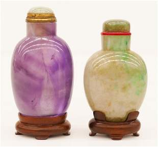 2pc Chinese Jade and Amethyst Snuff Bottles
