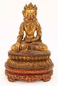 Tibetan 16th Cent. Gilt Bronze Crowned Buddha