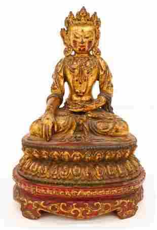 Tibetan 16th Cent. Gilt Bronze Crowned Buddha