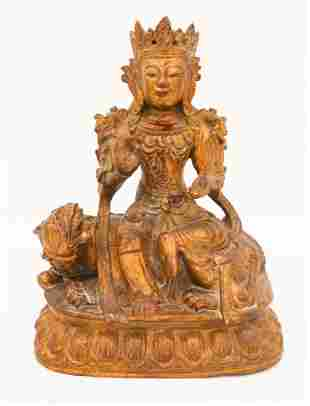 Old Tibetan Gilt Maitreya Riding a Qilin