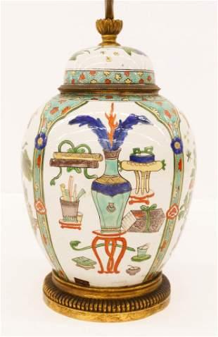 Chinese Qing Famille Verte Jar Lamp