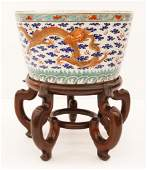 Chinese Qing Dragon Porcelain Jardiniere