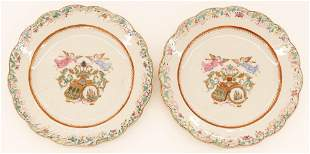 Pair Chinese 18th Cent. Export Armorial Plates