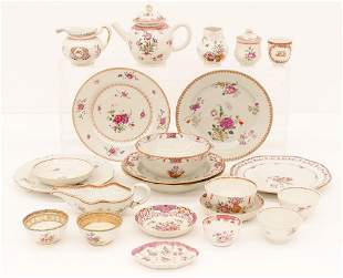 23pc Chinese 18th Cent. Export Floral Porcelain