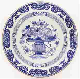 Chinese Kangxi ''Flower Basket'' Blue & White Charger