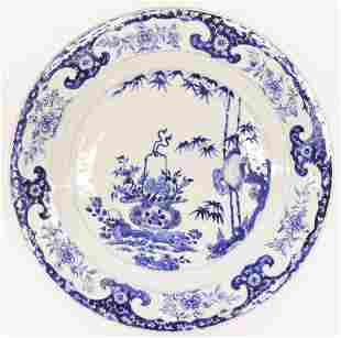 Chinese Kangxi ''Flower Basket Landscape'' Blue & White