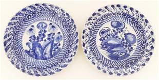 Pair Chinese Kangxi Floral Blue & White Plates
