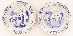 Pair Chinese Kangxi Blue & White Plates