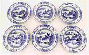 Set 6 Chinese 18th Cent. Blue & White Plates