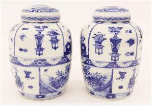 Pair Chinese Qing Blue & White Ginger Jars