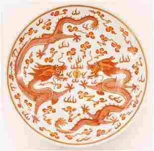 Chinese Guangxu Red Dragon Charger