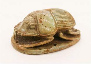 Ancient Egyptian Faience Funerary Scarab