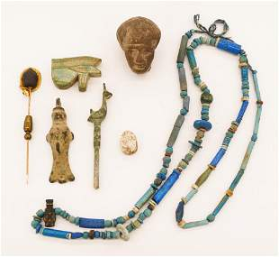 7pc Ancient Egyptian Faience Jewelry etc.